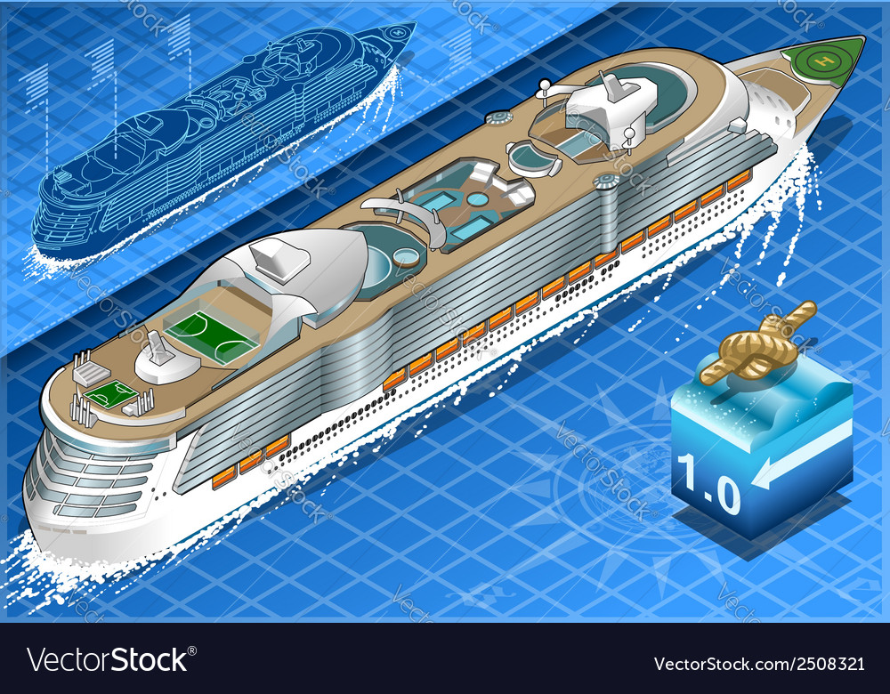Isometric cruise ship in navigation in rear view vector | Price: 1 Credit (USD $1)