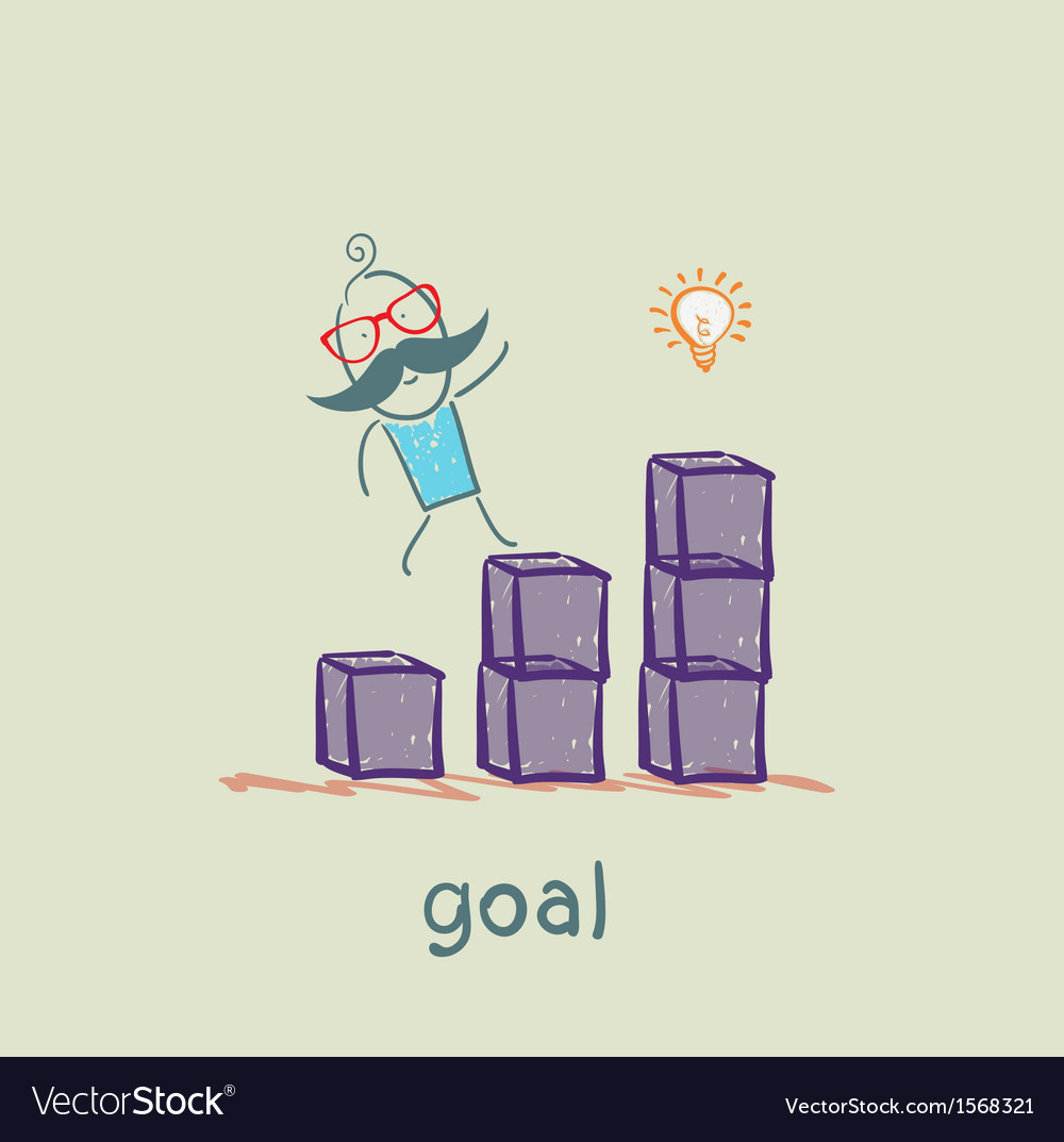 Man is on schedule up to the goal vector | Price: 1 Credit (USD $1)