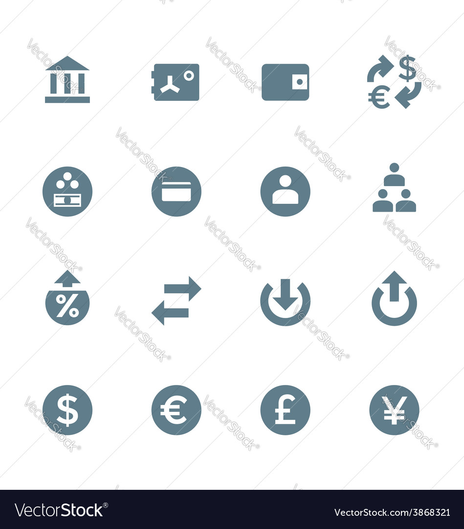 Solid grey various financial banking icons set vector | Price: 1 Credit (USD $1)