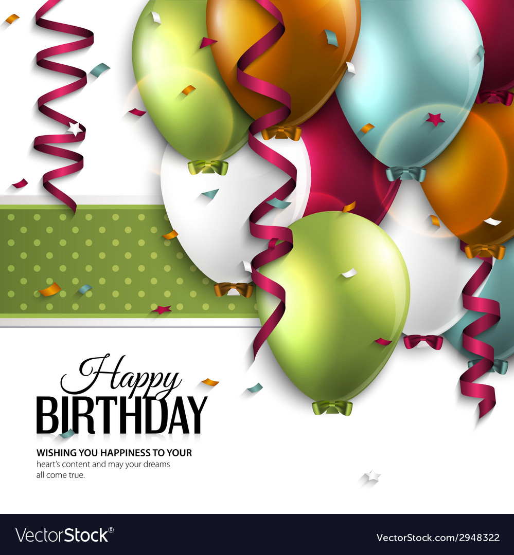 Birthday card with balloons and birthday text vector | Price: 3 Credit (USD $3)