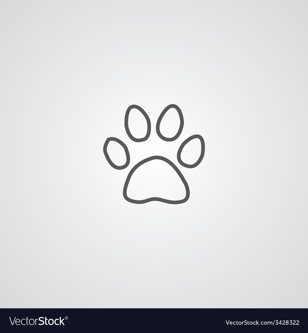 Cat footprint outline symbol dark on white vector | Price: 1 Credit (USD $1)