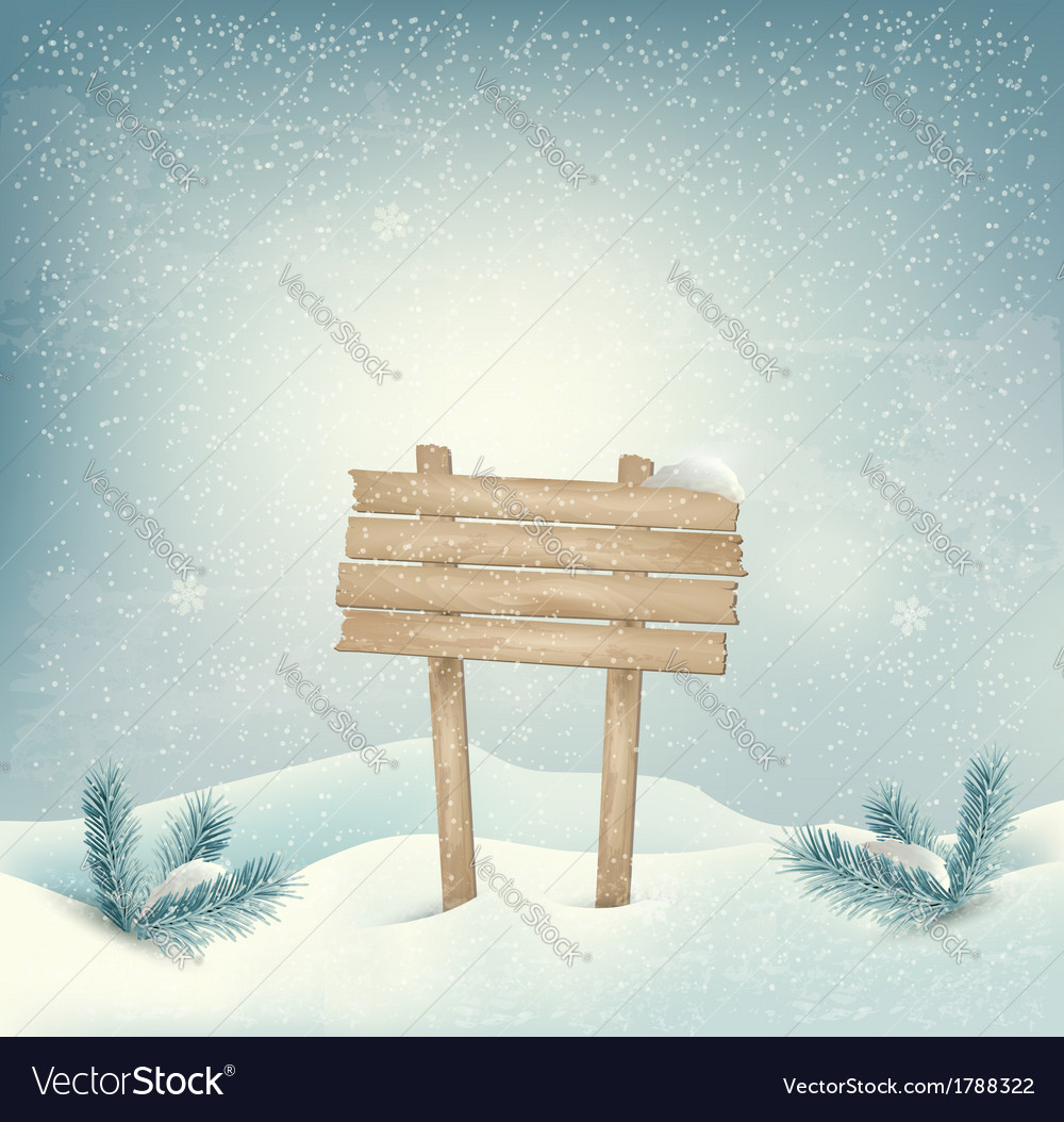 Christmas winter background with wooden sign and vector | Price: 1 Credit (USD $1)