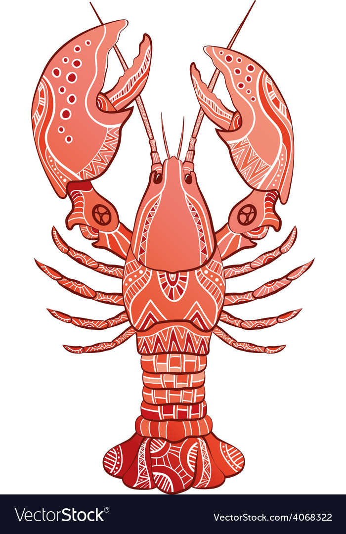 Decorative isolated lobster vector | Price: 1 Credit (USD $1)