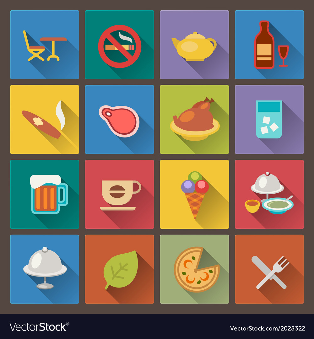 Food and alcohol drink icons in flat design style vector | Price: 1 Credit (USD $1)