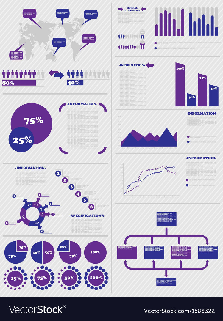 Infographic demographics 5 purple vector | Price: 1 Credit (USD $1)