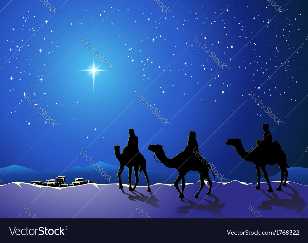 Three wise men go for the star of bethlehem vector | Price: 1 Credit (USD $1)