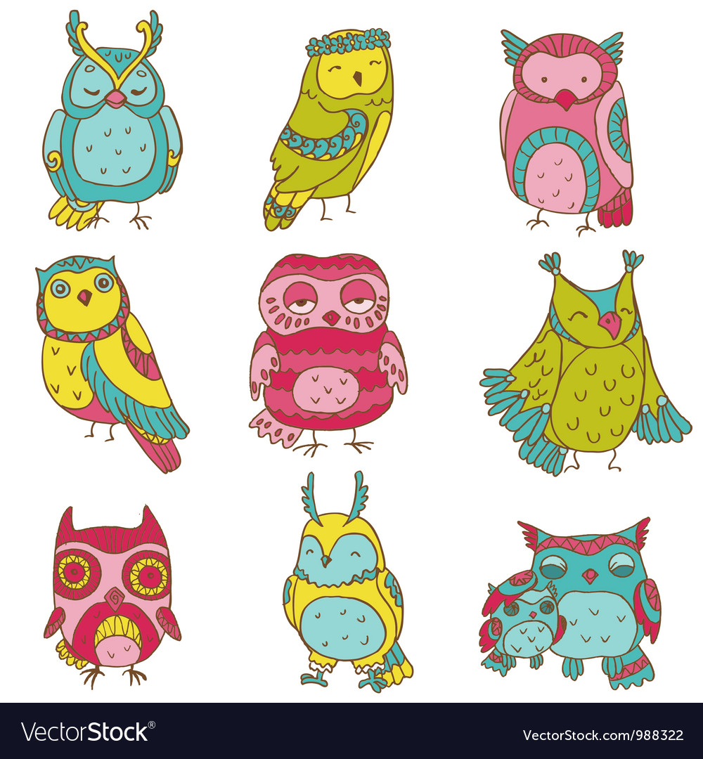 Various owl doodle collection vector | Price: 3 Credit (USD $3)