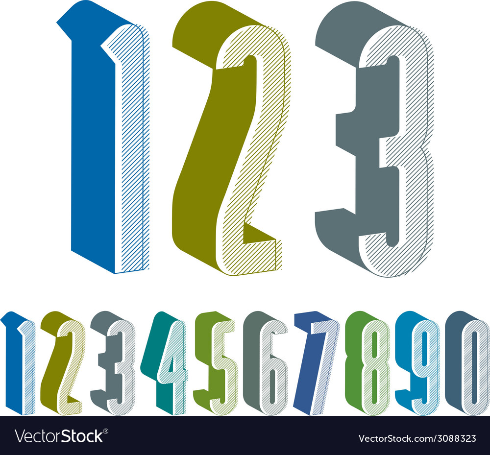 3d extra tall numbers set made with round shapes vector | Price: 1 Credit (USD $1)