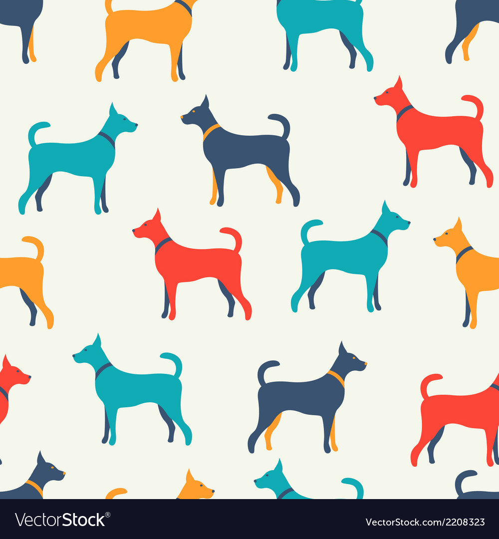 Animal seamless pattern of dog silhouettes endless vector | Price: 1 Credit (USD $1)