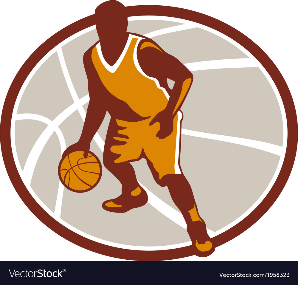 Basketball player dribbling ball oval retro vector | Price: 1 Credit (USD $1)