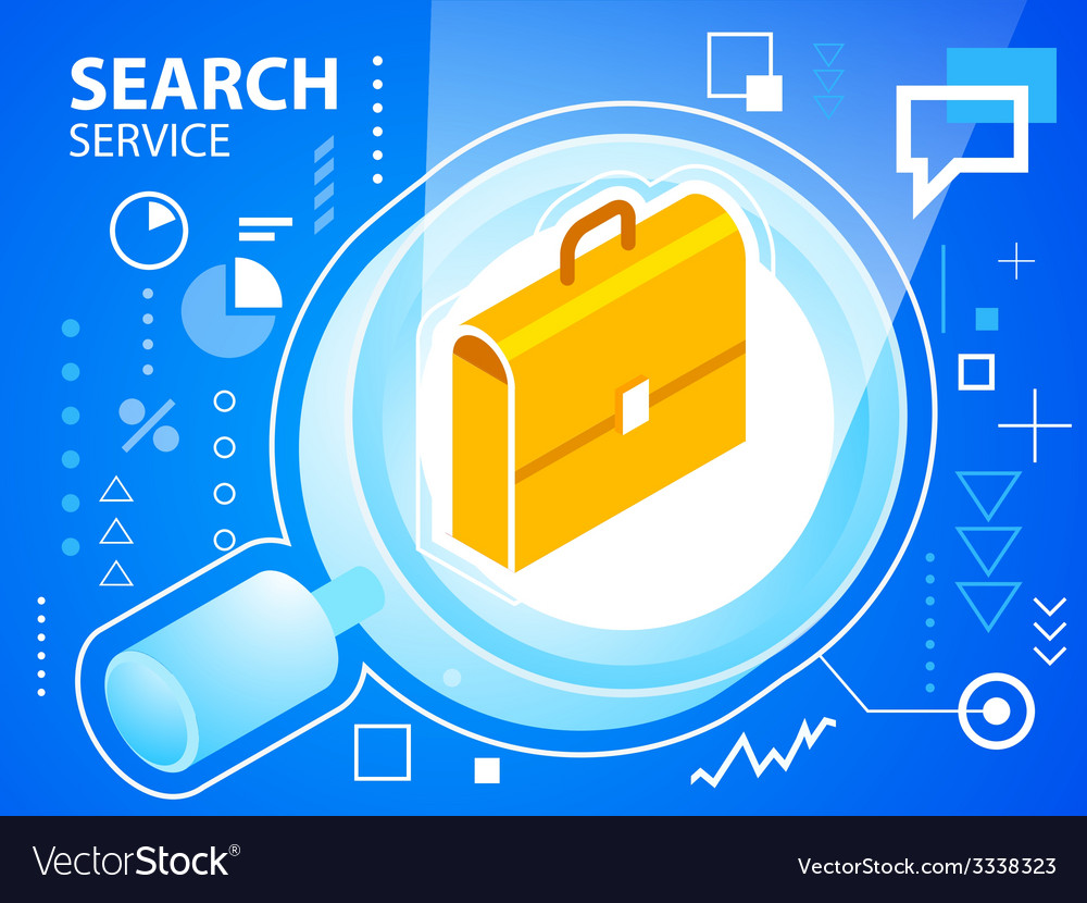 Bright search glass and work suitcase on blu vector   Price: 3 Credit (USD $3)