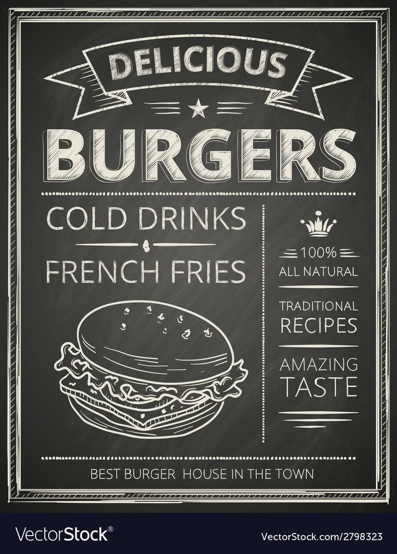 Burger poster vector