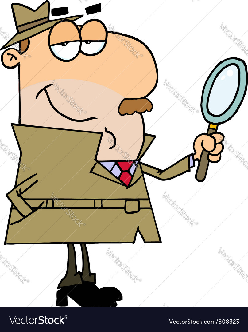 Caucasian cartoon detective man vector | Price: 1 Credit (USD $1)