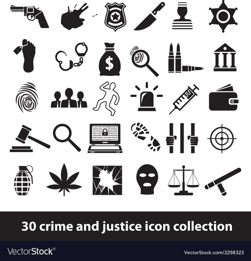 Crime and justice icons vector | Price: 1 Credit (USD $1)