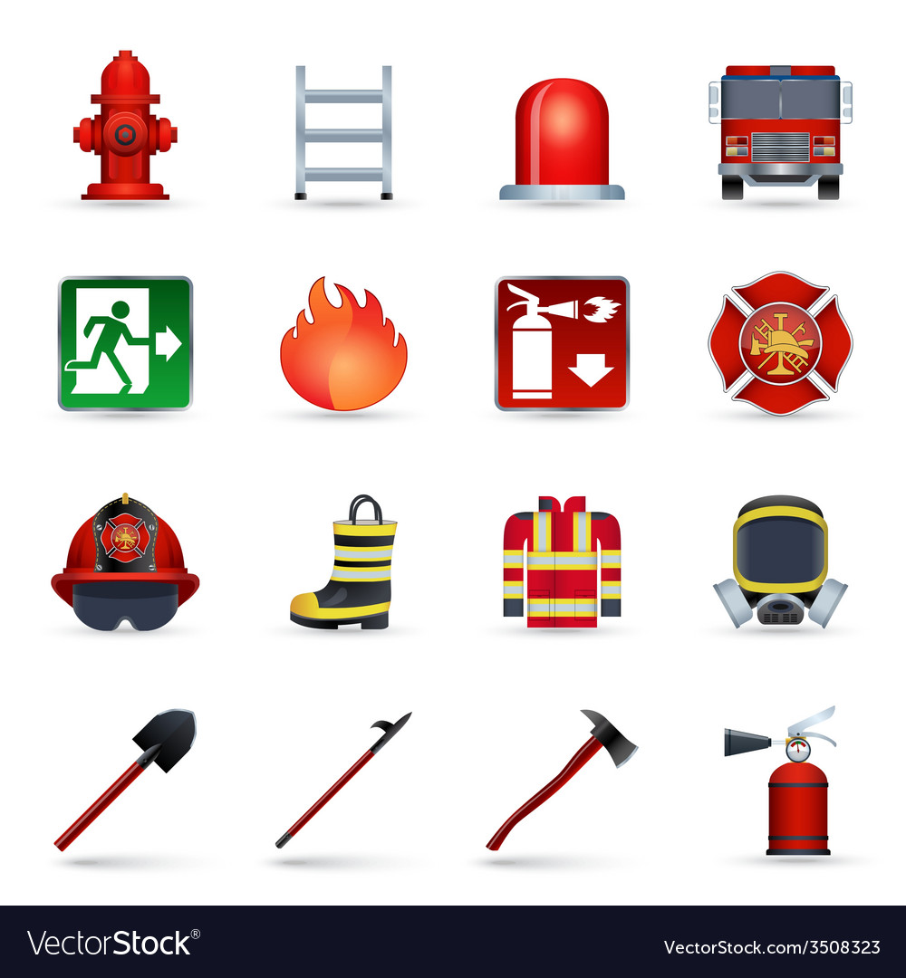 Firefighter icons set vector | Price: 1 Credit (USD $1)