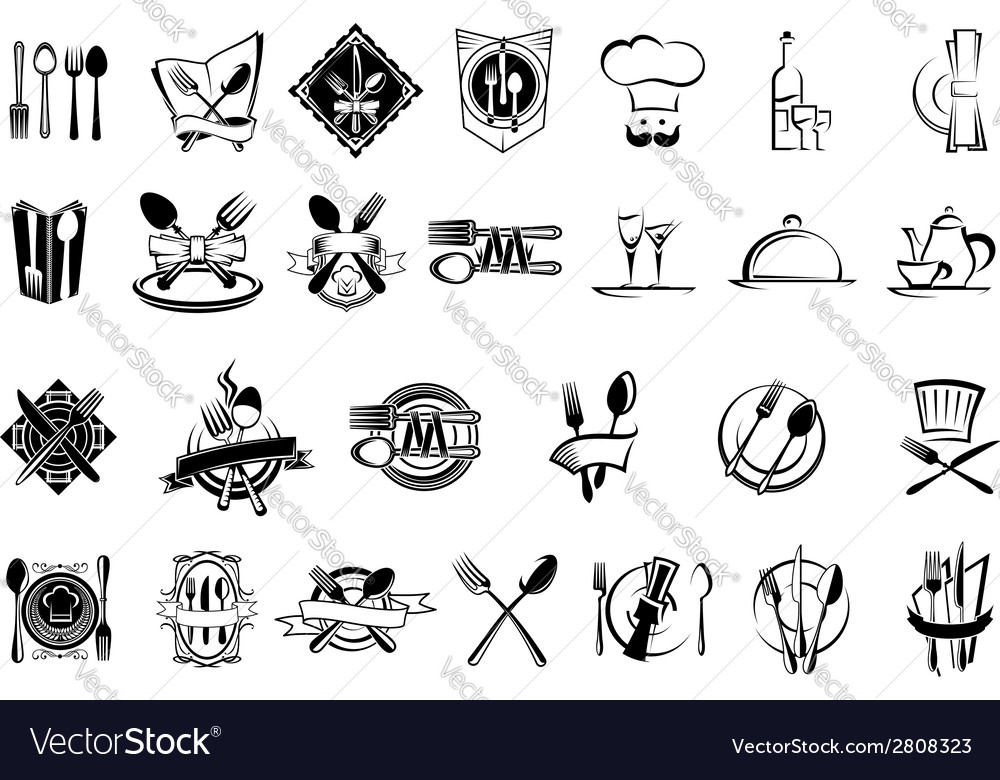 Food restaurant and silverware icons set vector | Price: 1 Credit (USD $1)