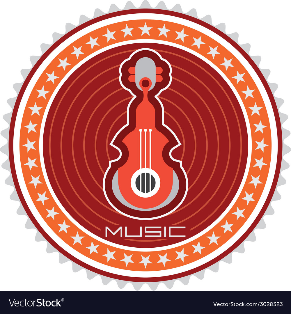 Guitar round label vector | Price: 1 Credit (USD $1)