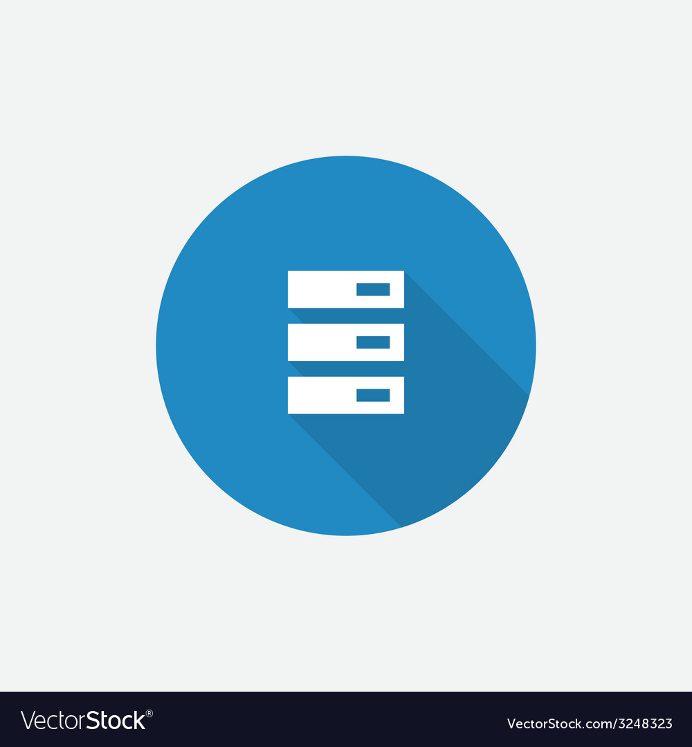 Server flat blue simple icon with long shadow vector | Price: 1 Credit (USD $1)