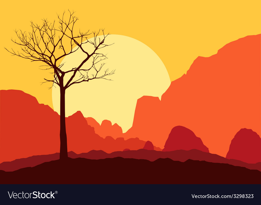 Tree dry landscape scene background vector | Price: 1 Credit (USD $1)