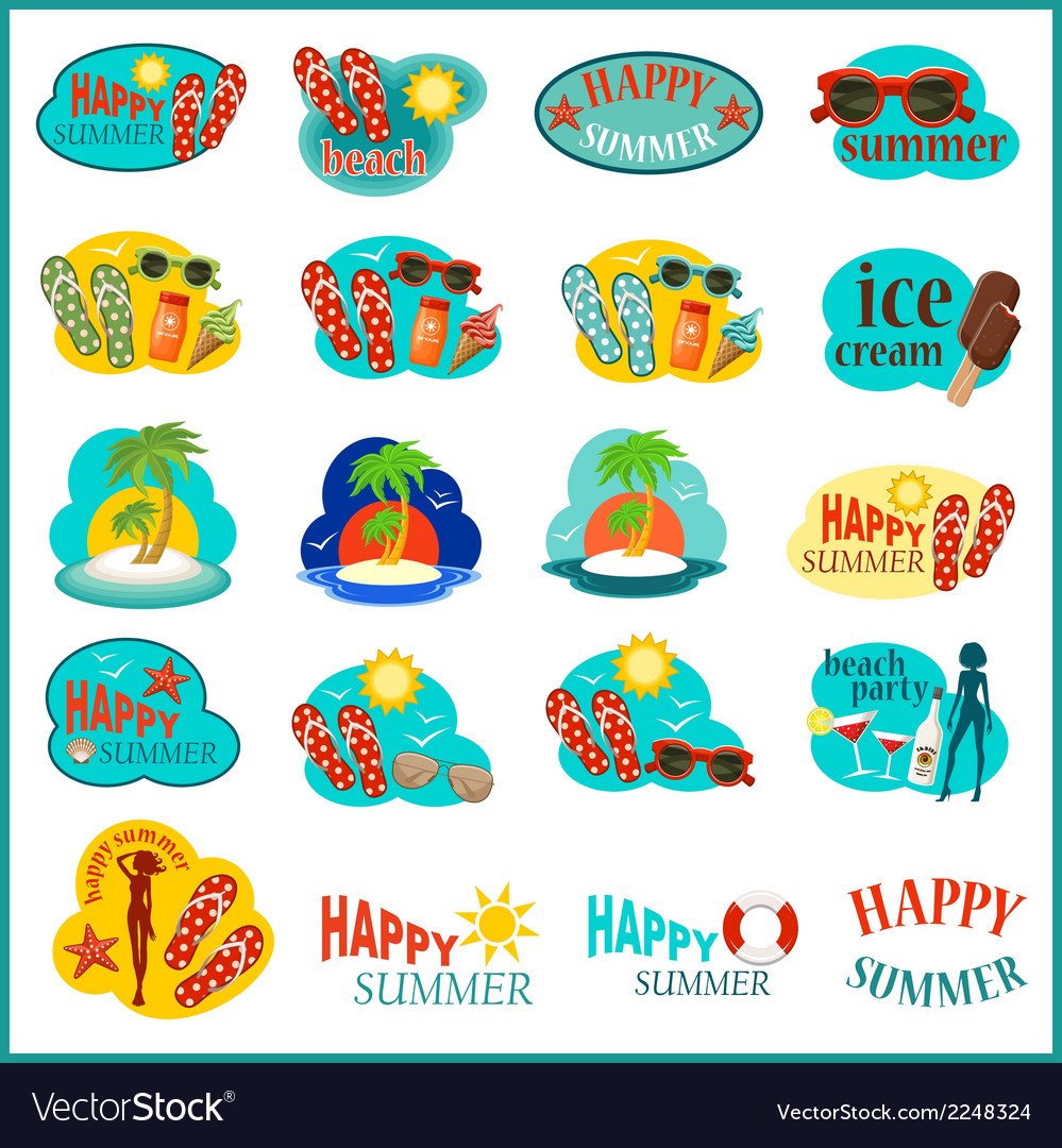 Beach icon set vector | Price: 1 Credit (USD $1)
