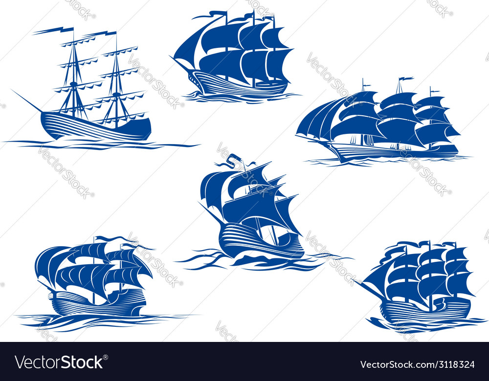 Blue tall ships or sailing ships vector | Price: 1 Credit (USD $1)