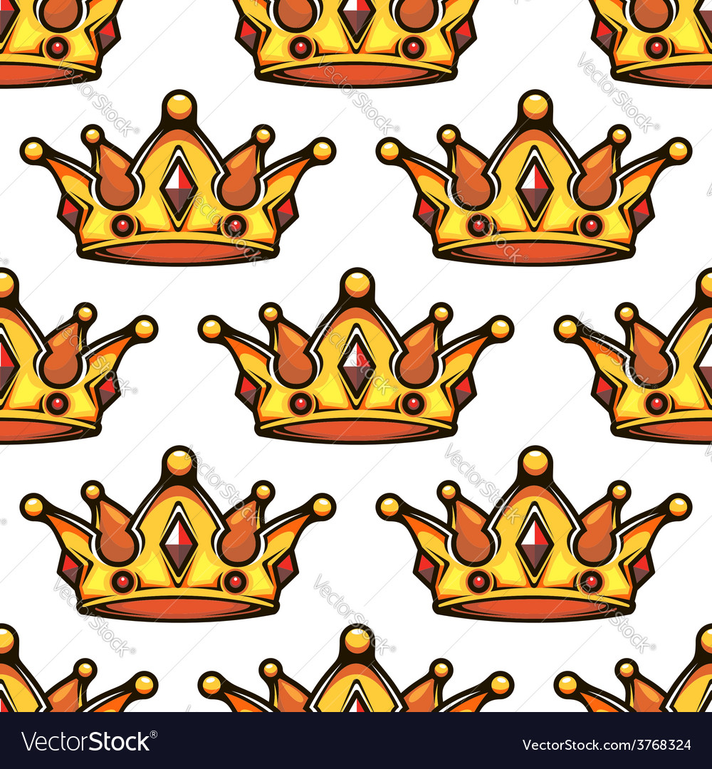 Cartoon emperor crowns seamless pattern vector | Price: 1 Credit (USD $1)