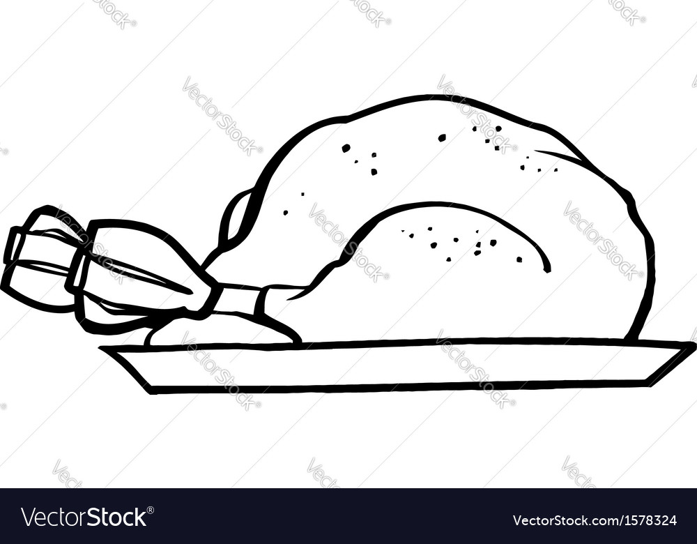 Cooked turkey cartoon vector | Price: 1 Credit (USD $1)