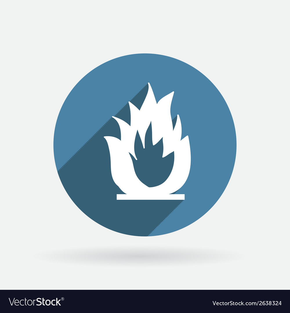 Fire sign circle blue icon with shadow vector | Price: 1 Credit (USD $1)