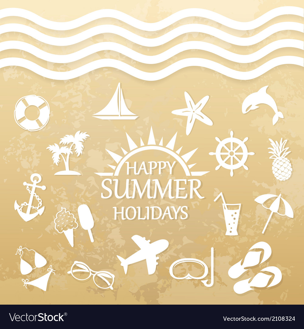 Happy summer holiday icons for summer vector | Price: 1 Credit (USD $1)