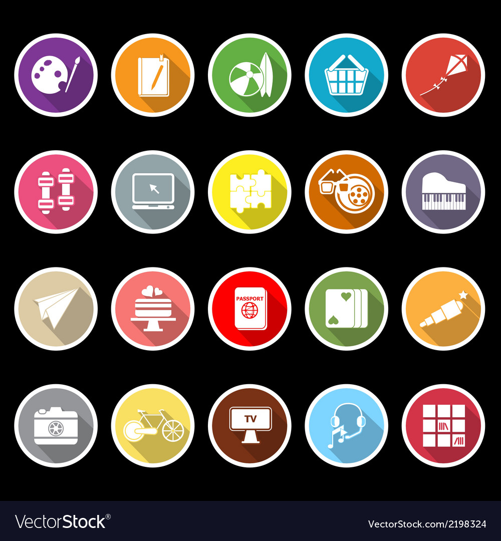 Hobby icons with long shadow vector | Price: 1 Credit (USD $1)