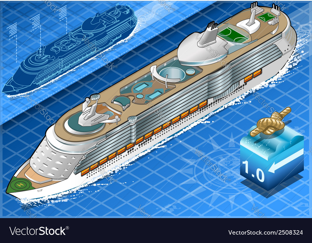 Isometric cruise ship in navigation in front view vector | Price: 1 Credit (USD $1)