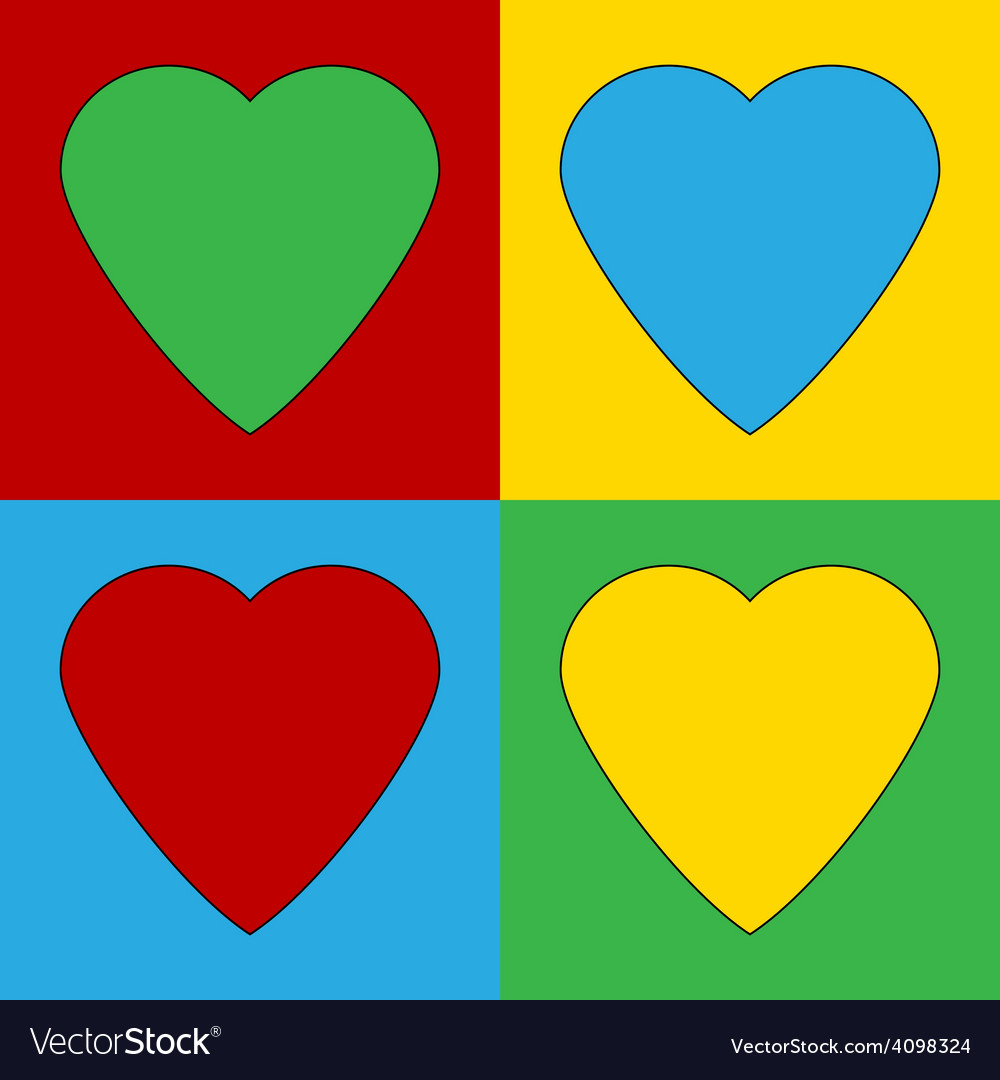 Pop art heart icons vector | Price: 1 Credit (USD $1)