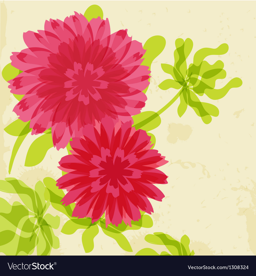 Red and orange chrysanthemums on grunge background vector | Price: 1 Credit (USD $1)