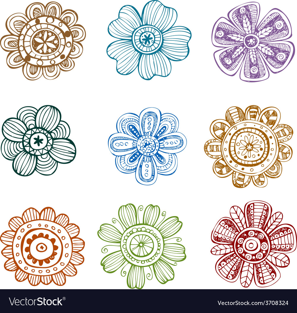 Set of ornate flowers vector | Price: 1 Credit (USD $1)