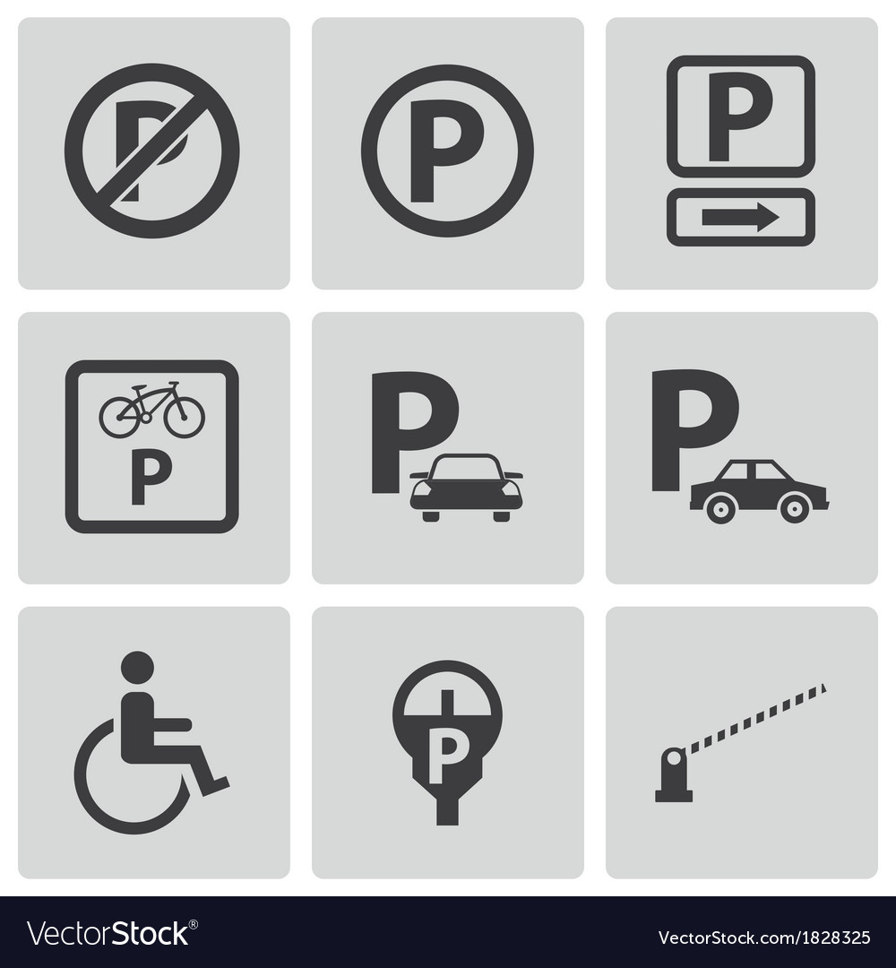 Black parking icons set vector | Price: 1 Credit (USD $1)