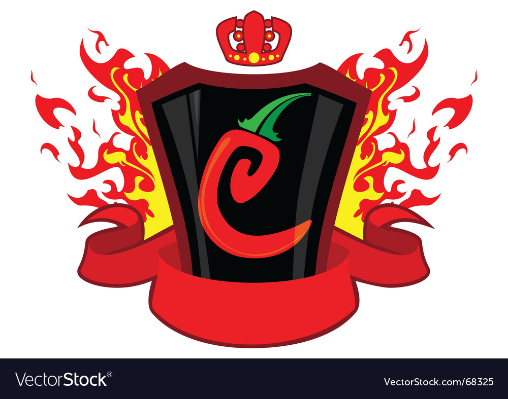 Chili emblem with banner vector | Price: 1 Credit (USD $1)