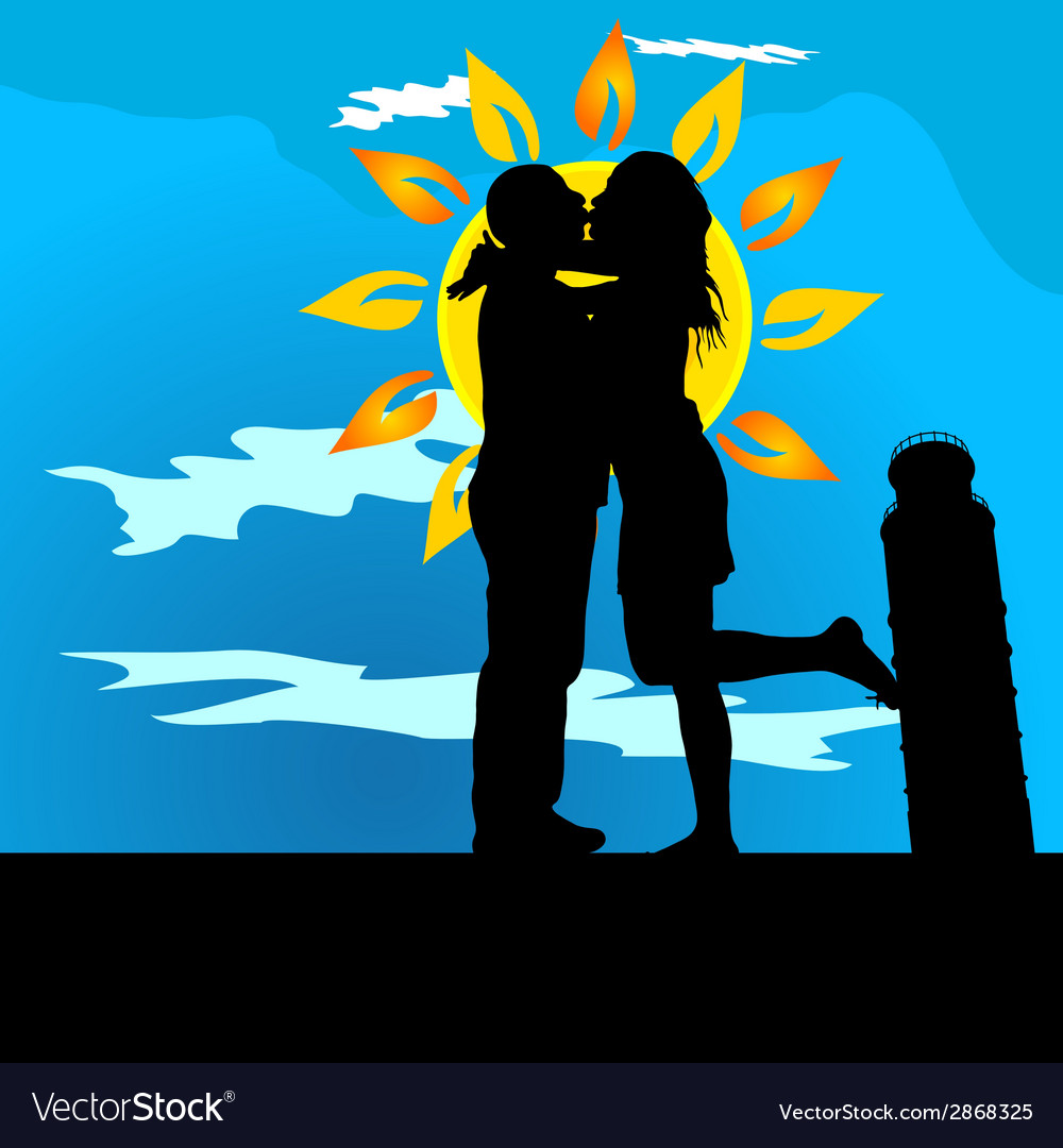 Couple kissing by leaning tower of pisa vector | Price: 1 Credit (USD $1)