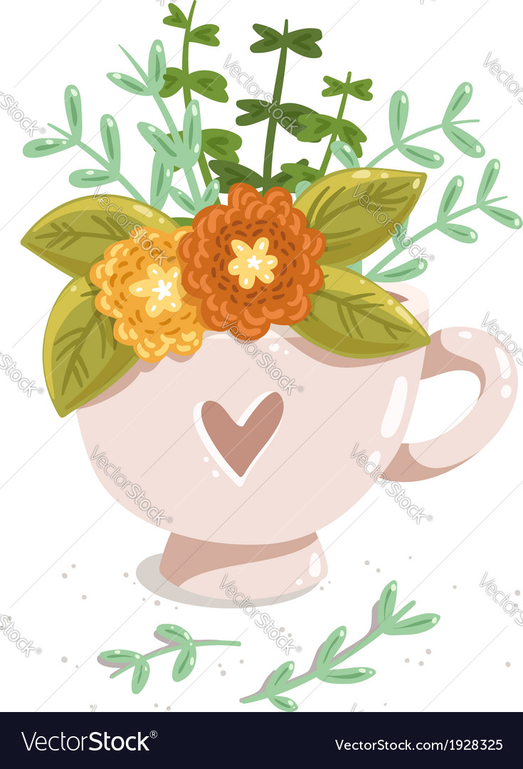 Cup with flowers vector | Price: 1 Credit (USD $1)