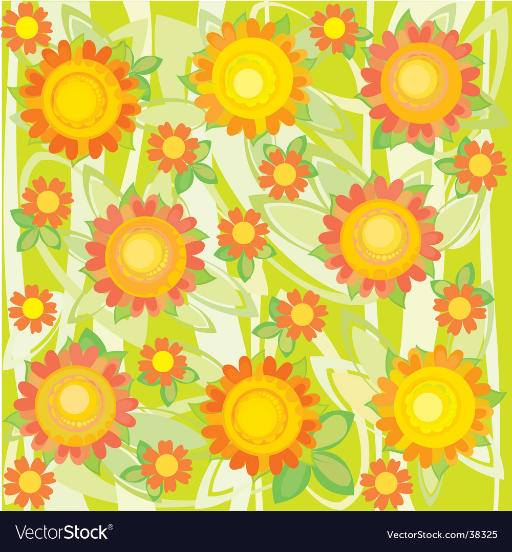 Sunflower floral background vector | Price: 1 Credit (USD $1)