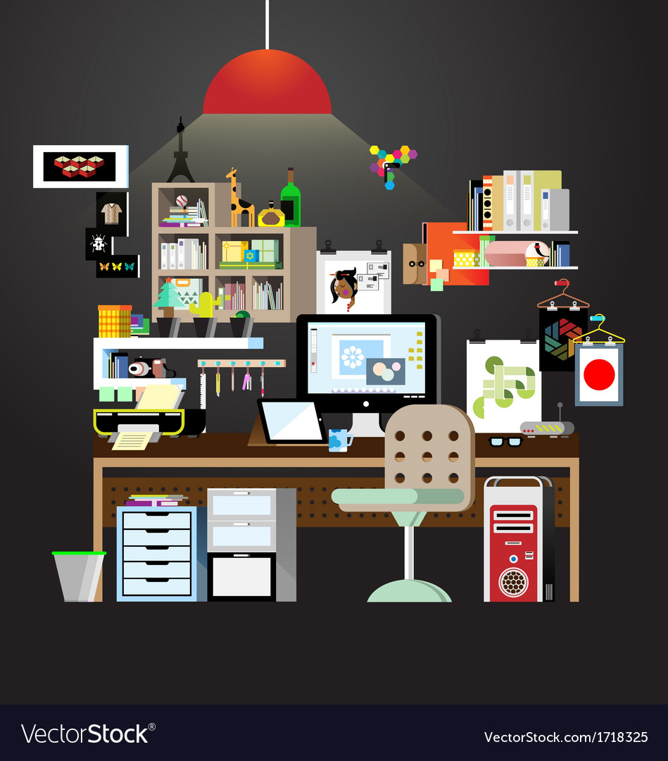 Working space in home vector | Price: 1 Credit (USD $1)
