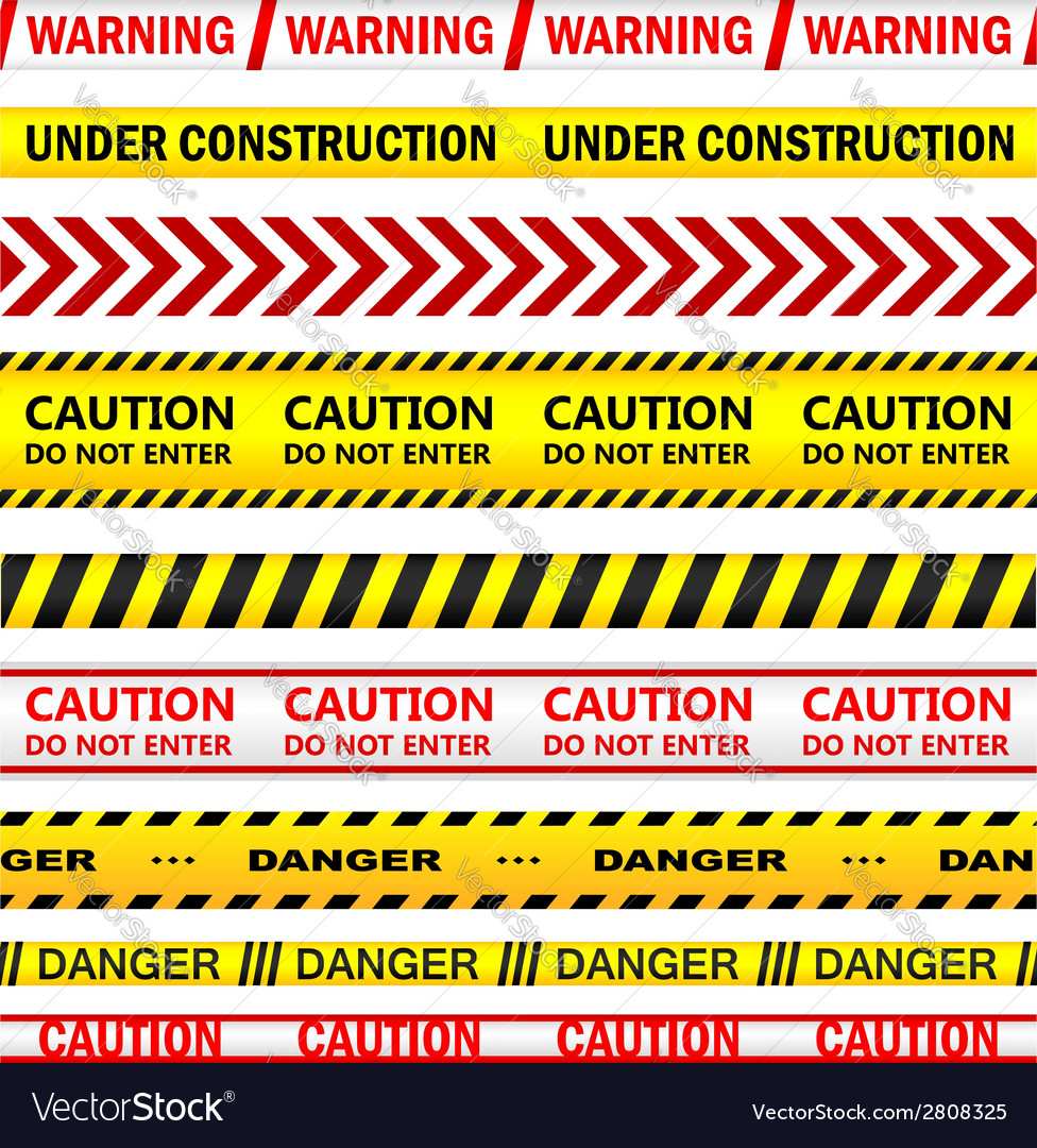 Yellow warning tapes with texts vector | Price: 1 Credit (USD $1)