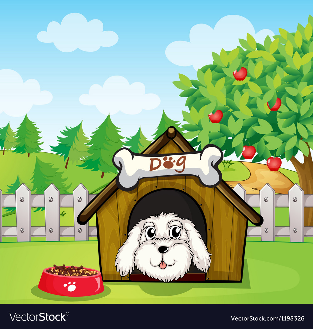 A puppy inside a doghouse near an apple tree vector | Price: 1 Credit (USD $1)