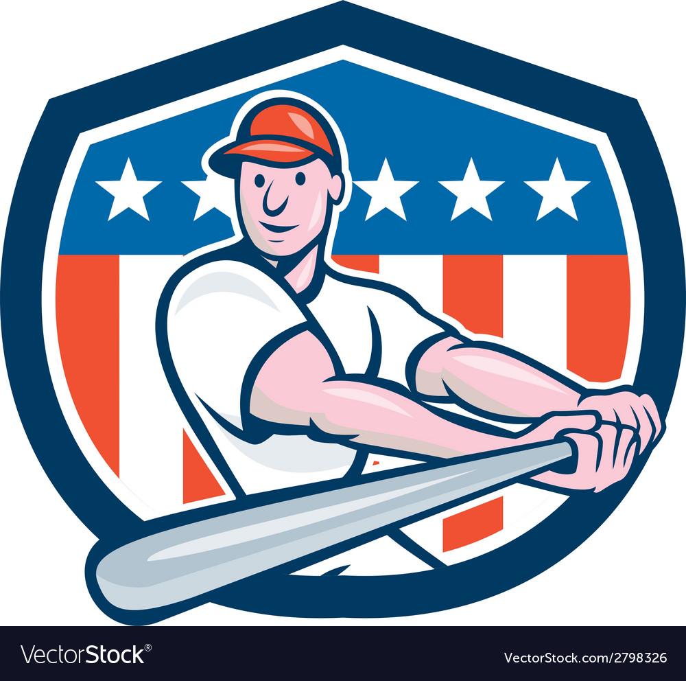American baseball player batting shield cartoon vector   Price: 1 Credit (USD $1)