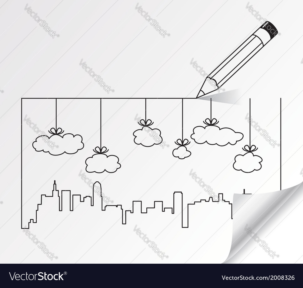 Contours of buildings and clouds vector | Price: 1 Credit (USD $1)