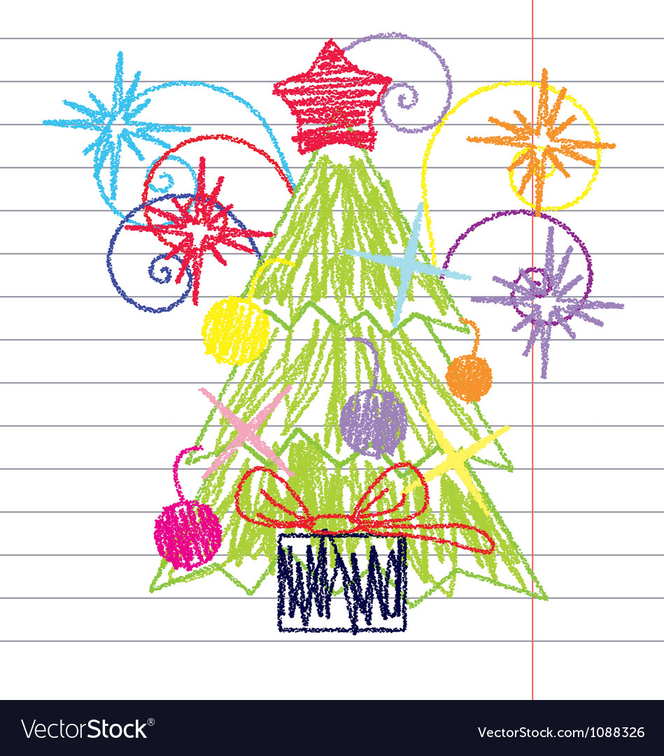 Crayon christmas tree vector | Price: 1 Credit (USD $1)