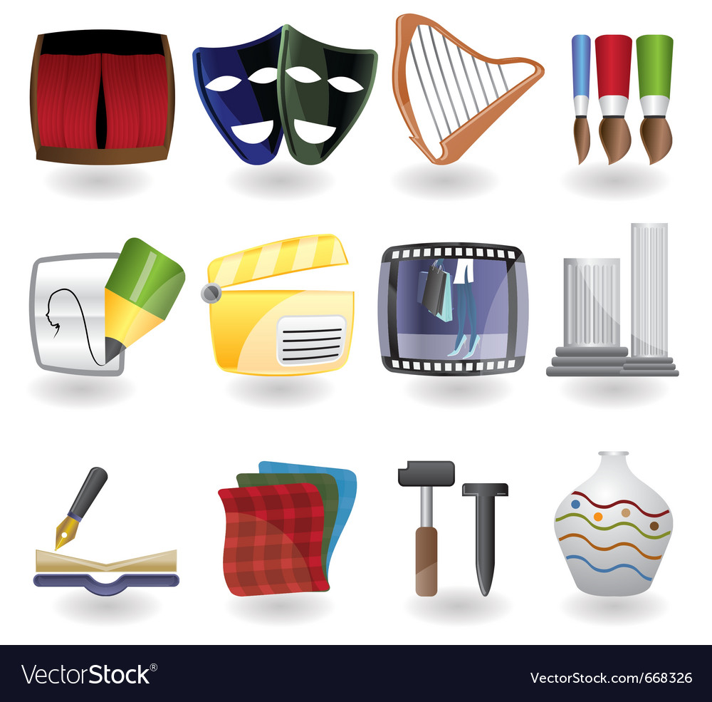 Different kind of art icons vector | Price: 1 Credit (USD $1)