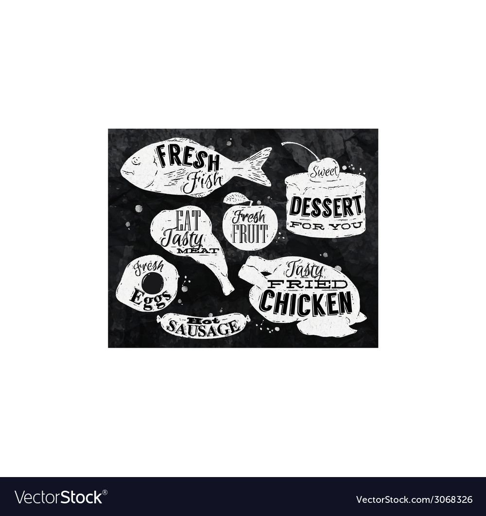 Eat symbol vintage in chalk lettering eggs apple vector