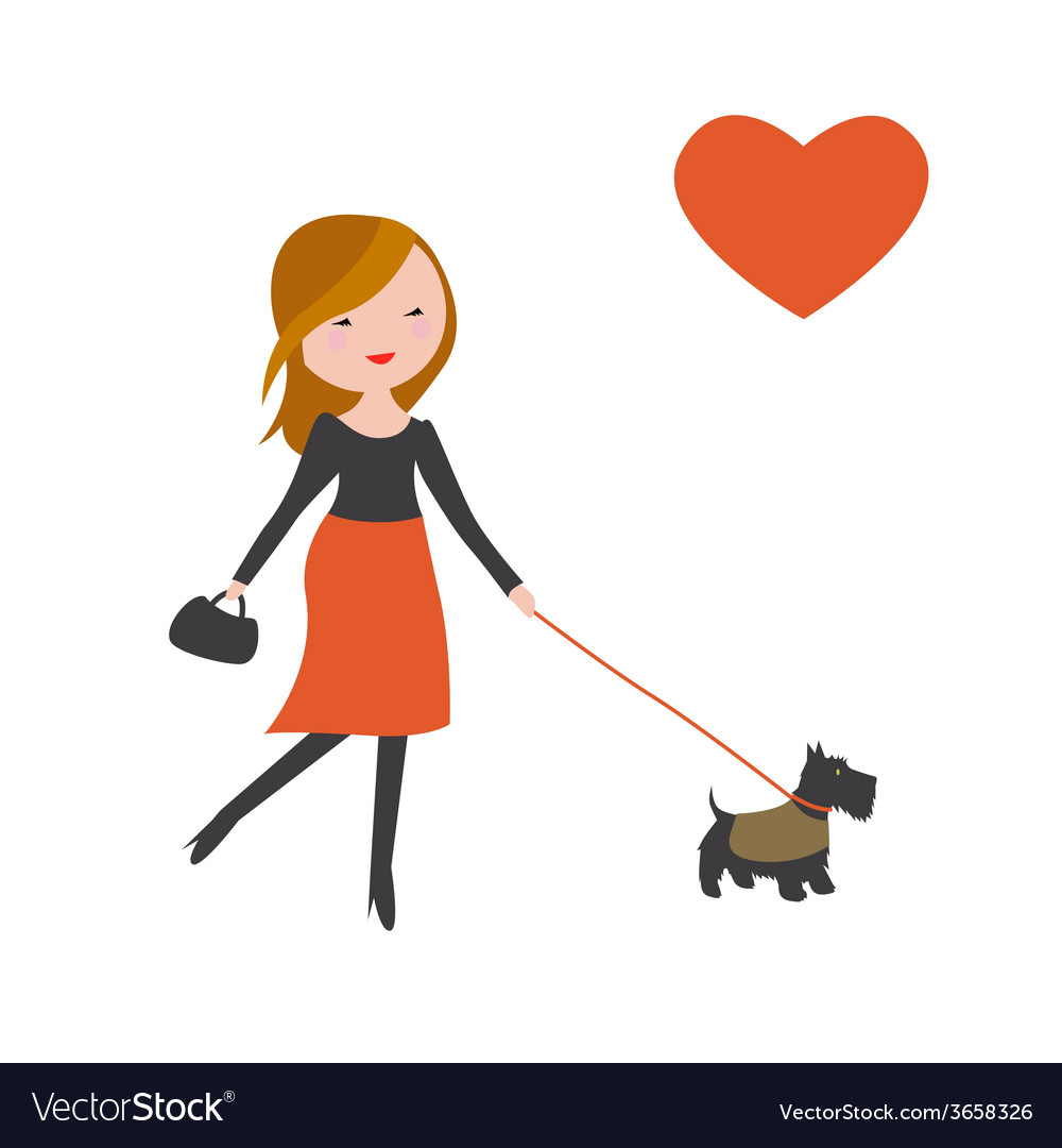Fashionable girl with cute dog vector   Price: 1 Credit (USD $1)