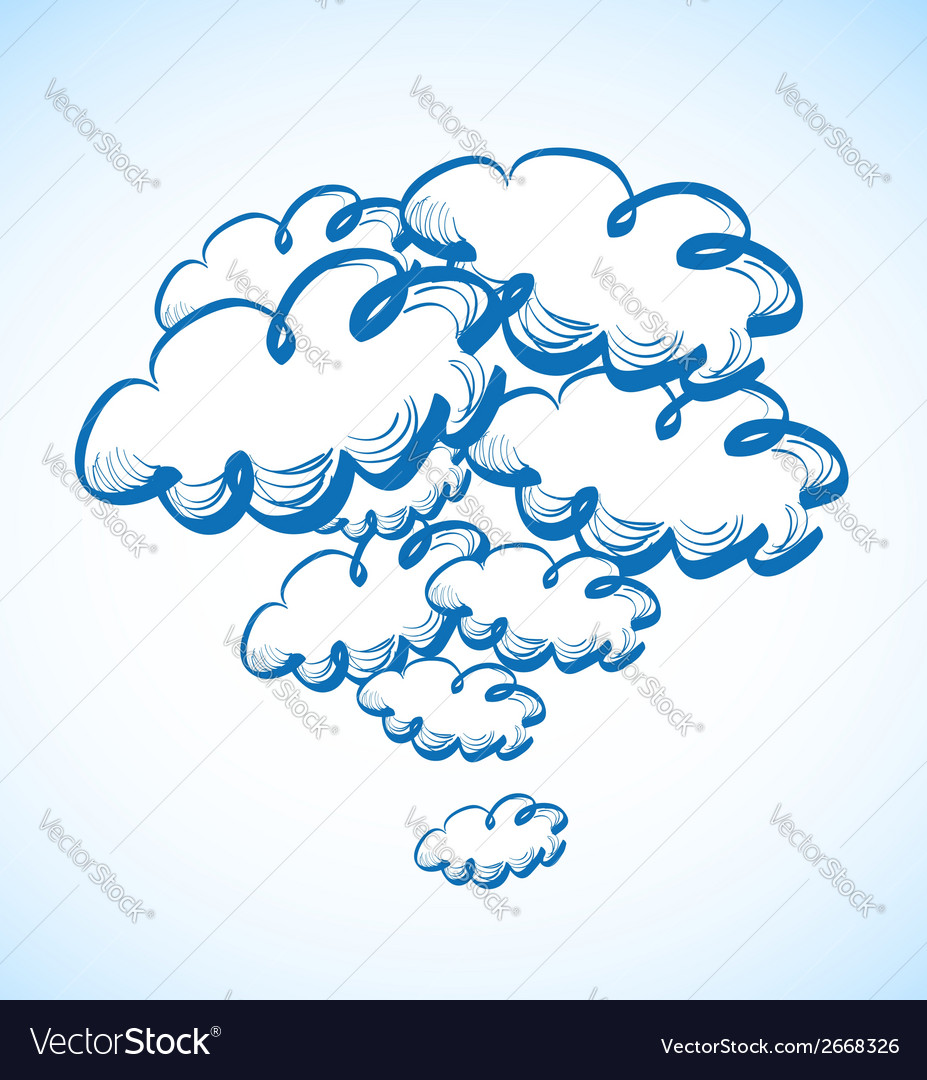 Hand drawing sky with clouds vector | Price: 1 Credit (USD $1)