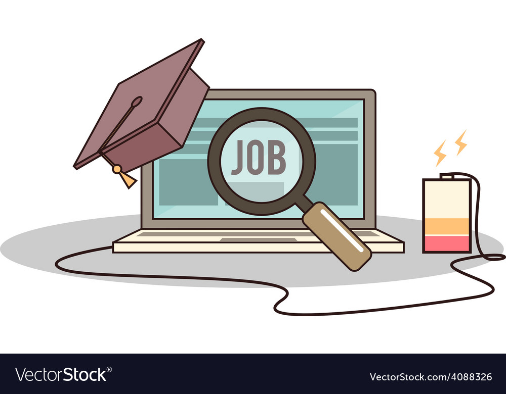 Isolated cartoon college degree online job searchi vector | Price: 1 Credit (USD $1)